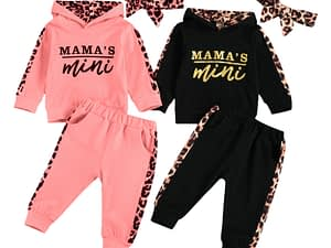 Infant Baby Girl Long-sleeved Trousers Suit Letter Hooded T-shirt Leopard Stitching Long Pants Headband 3Pcs Clothes Spring Fall
