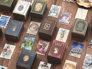 100pcs Vintage Stamp Book collection series Kraft Paper Mini Greeting Card Postcard Letter Envelope DIY Decoration LOMO Cards