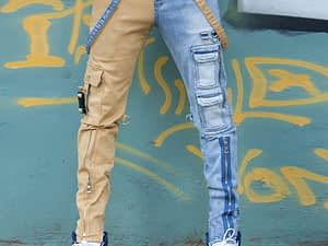 Men's jeans 2021 high street straight overalls men's oversized hip-hop yellow blue denim trousers fashion men's casual jeans