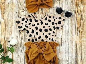 2021 Fashion Newborn Toddler Baby Girls Clothes Sets Leopard Print Short Sleeve Romper Tops Bow Shorts Headband 3pcs Outfit Set