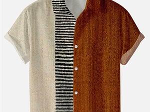 2021 Summer Short-sleeved Shirt Plus Size Stripe 5 Digital Print Men's Top