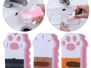 3 Pcs Washing Dishes Sponge Brush Cleaning Pans Cute Cat Paw  Magic Wipe Cleaning Dish Towel Cloth Kitchen Household Supplies