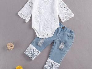 Citgeett Summer Baby Girls Long Sleeve Lace Romper Suit Triangle White Neck Lace Top Long Jeans Denim Pants 2Pcs Set