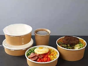 Takeaway Packaged Customizable Logo Thickened Fast Food Disposable Paper Take Away box salad kraft