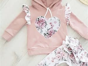 Blotona 2PCS Baby Girl Flowers 3D Ear Hoodies Top Sweatshirt Ruffle Pants Clothes Outfit Set 0-24M